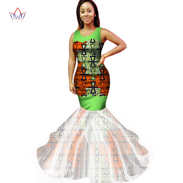 African Print Dresses Wrap Dress Dashiki African Print Sleeveless Bodycorn  Ethnic Mermaid Dress Plus Size Women Clothing WY2361