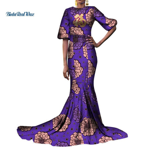 African Print Dresses for Women Bazin Riche Ankara Leopard Print Long Evening Dresses African Clothing Tutu Fu Dresses WY3948