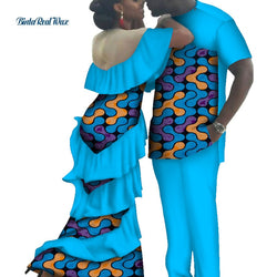 African Print Long Dresses for Women Bazin Riche Mens Shirt and Pants Sets Lover Couples Clothes African Style Clothing WYQ115