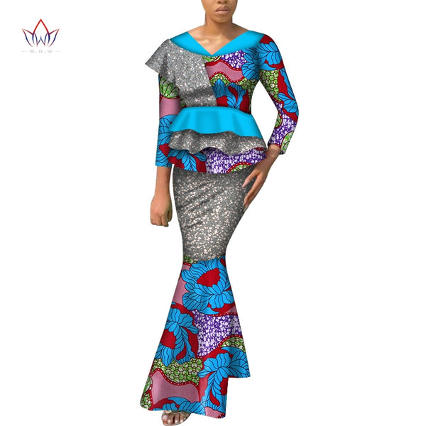 African Print Long Sleeve Tops and Skirt Sets for Women Bazin Riche African Dashiki Women Clothing Lady 2 Pcs Skirts Sets WY7220
