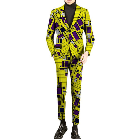African Print Men Blazer And Trouser Two Pieces Set Male Blazers Dashiki Pant Suits Festive Outfits For Men African Clothing