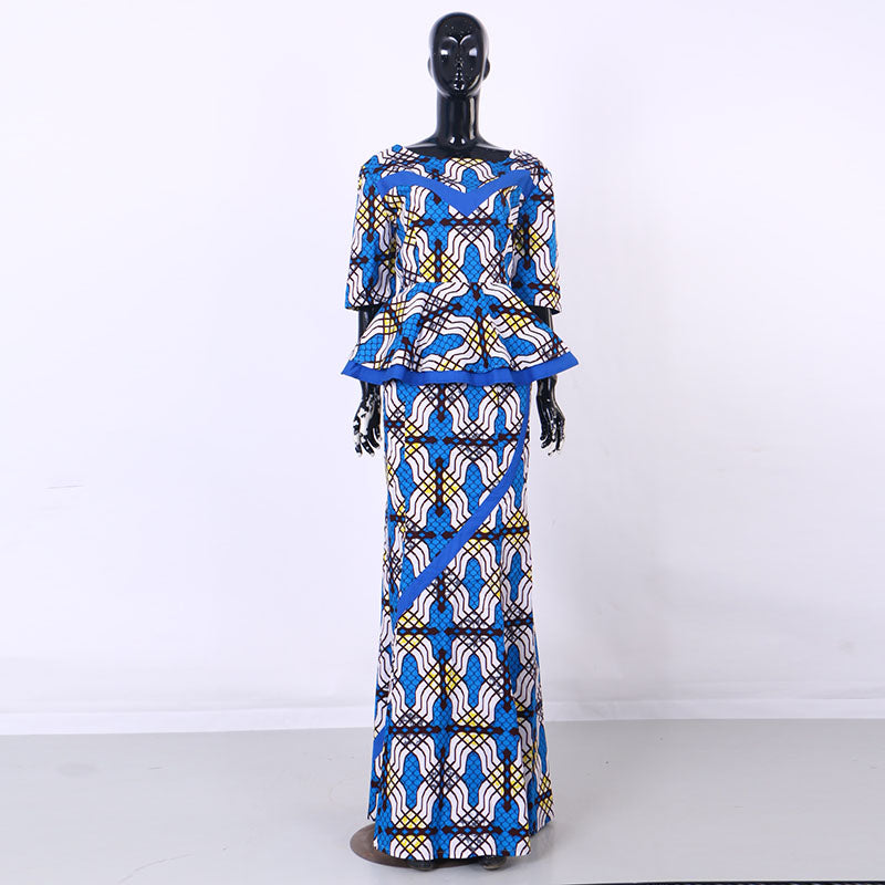 African Print Patchwork Top and Skirt Sets for Women Tradition ...