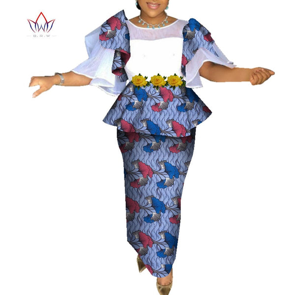 African Print Short Sleeve Tops and Skirt Sets for Women Bazin Riche African Women Clothing Lady 2 Pieces Skirts Sets WY7213