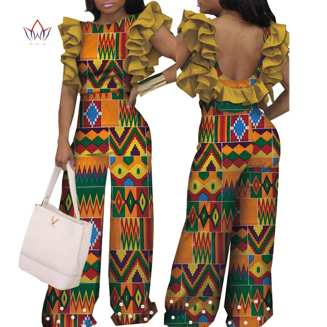 amazing price hot new products enjoy clearance price African Print Women Jumpsuit Ruffle sleeve Autumn Sexy Backless Romper Wide  Leg Pants African Ladies Jumpsuits Rompers wy4427