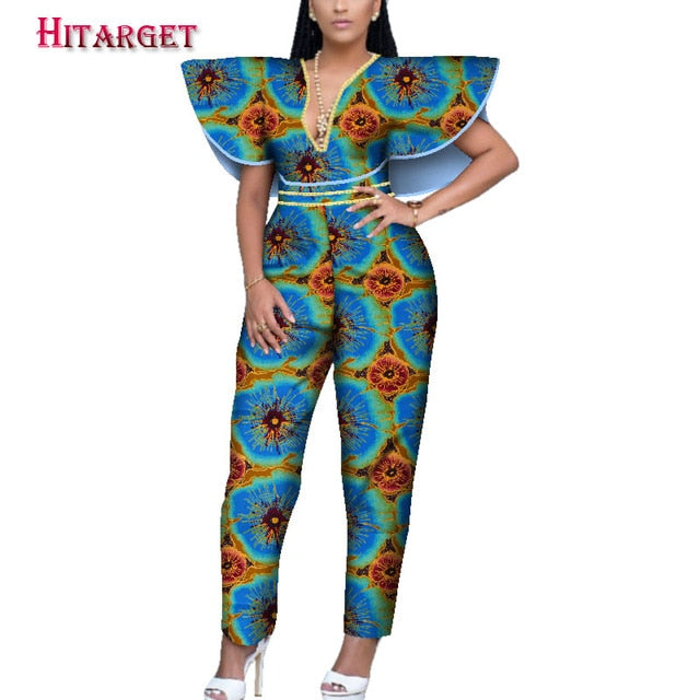849f0dce523f5 African Print Women Jumpsuit V-Neck special Sleeveless Autumn Sexy Leg Pant  African Ladies Jumpsuits Rompers customizable WY3945