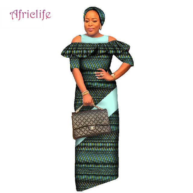 African Straight Dresses for Women Plus Size Dashiki Bazin Riche Patchwork  Long Maxi Dress Traditional African Clothing WY1742