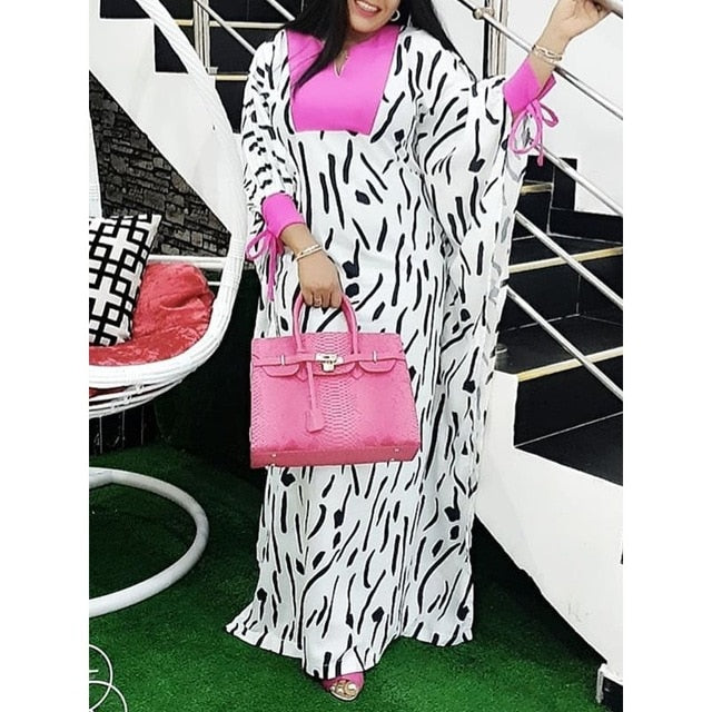 8ce7b60266924 African Stylish Stripe Print White Long Dress Women Spring Robe Batwing  Sleeve Color Block Plus Size Ladies Casual Maxi Dresses