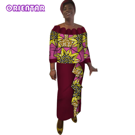 African Suits for Women Bazin Riche African Wax Print Tops and Skirts Fashion Slash Neck Tops Ankle-Length Long Skirt Set WY3917