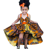 African Summer 2020 News Traditional Dashiki Print Dress for Girl Kids Costume Ethnic Bow-knot Infant African Dresses for Women