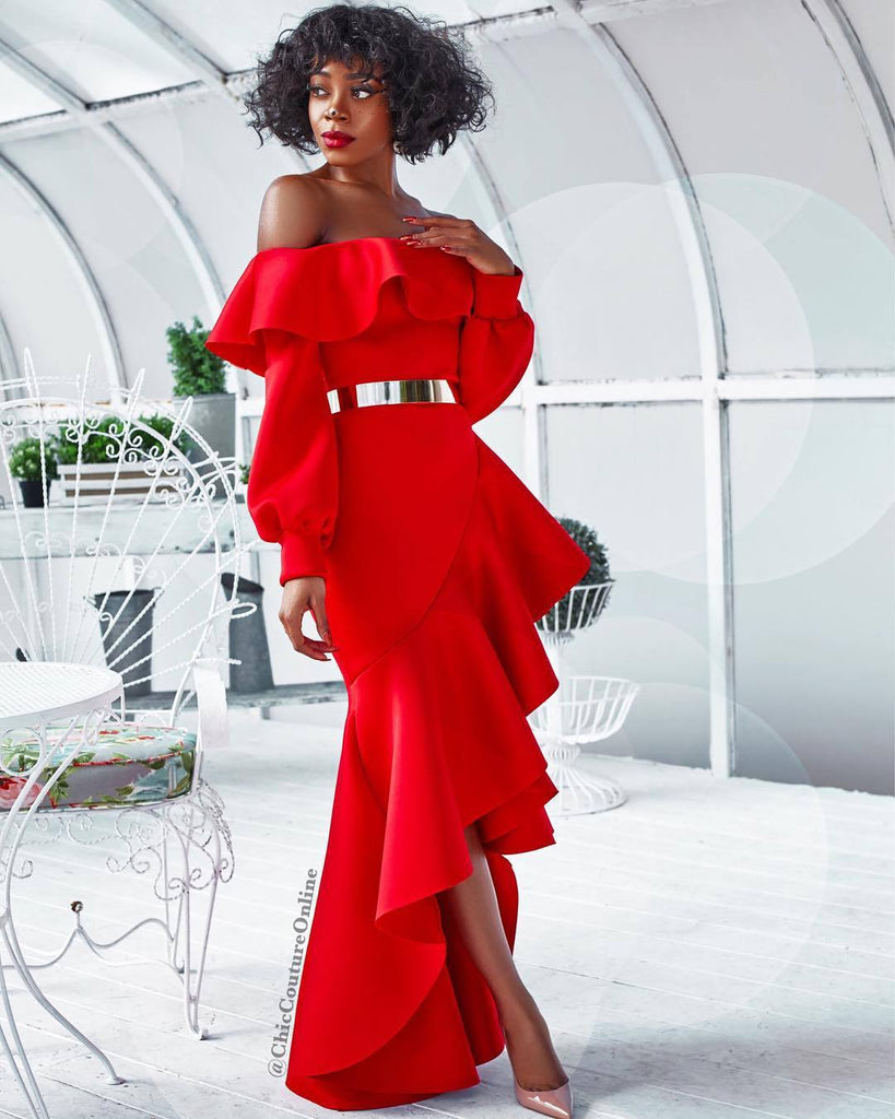 c8d8eb7826b0b African Traditional Dresses New Arrival Sale 2018 Pure Color, Breast, Lotus  Leaf And Long Sleeved Dress African Women Clothing
