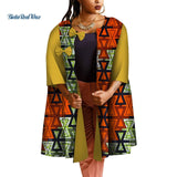 African Trench Coat for Women Clothes Traditional African Print Water Drop Patch Designs Bow Trench Bazin Clothing WY4719