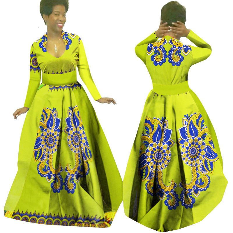 c858afa134 African Wax Print Maxi Dresses Dashiki Plus Size Traditional African  Clothes for Women Full Sleeve Long Party Dress 1 2