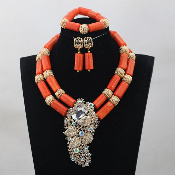 African Wedding Bridal Top Purple Orange Coral Beads Jewelry sets Nigerian Women Beads Necklace Jewelry Sets Free ShippingABH190