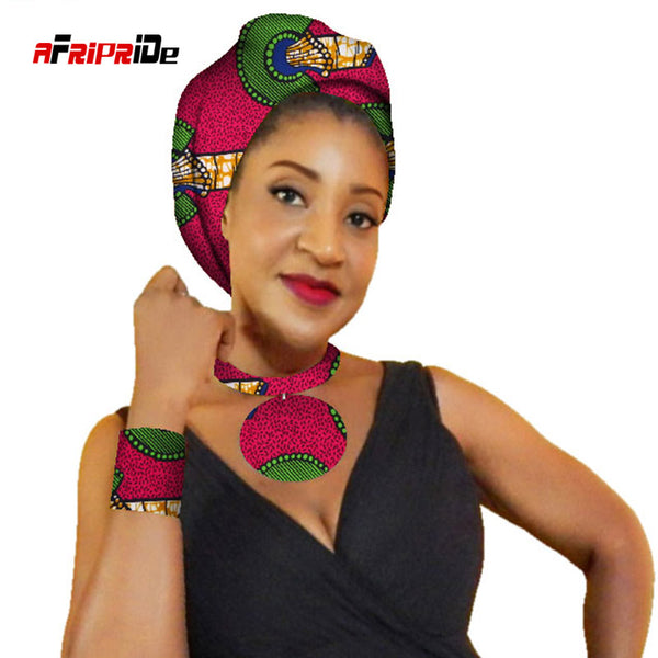 African Women Necklace,Head Scarf and Bracelet 3 Pieces Colorful Detachable Collars and Headwrap Women Clothes Accessories SP084