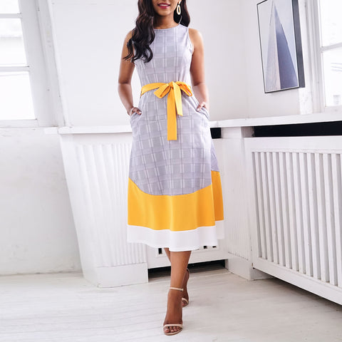 African Women Office Lady Work Date Party Retro Dress Gray Plaid Yellow White Patchwork Belt Preppy Chic Sweet Midi Long Dresses