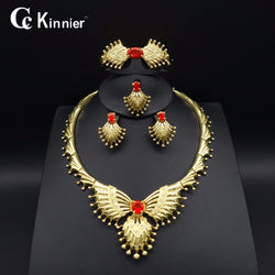 African beads Nigeria Wedding jewelry sets  gold-color Dubai Fashion Bridal classic red bead Necklace Bracelet ring Earrings