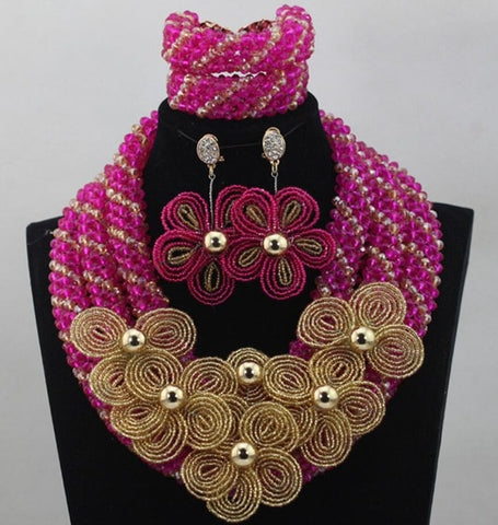 Image of African beads necklace nigerian wedding jewelry sets women necklace sets for wedding
