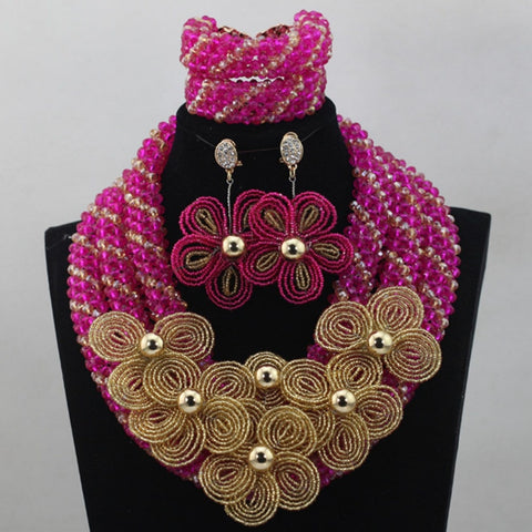 African beads necklace nigerian wedding jewelry sets women necklace sets for wedding