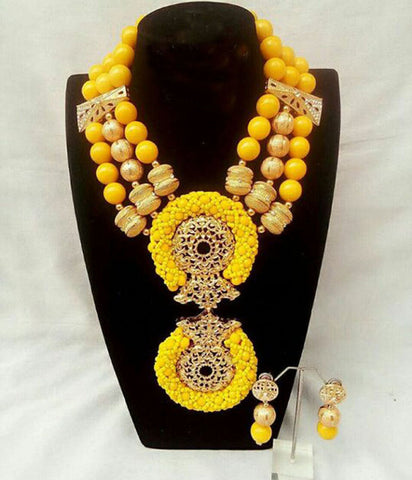 Image of African beads necklace sets jewelry set for wedding nigerian bridal fashion necklace sets for party 2019
