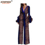 African casual jumpsuit for women AFRIPRIDE full puff sleeve deep v-neck women cotton jumpsuit with sashes in front A1829001