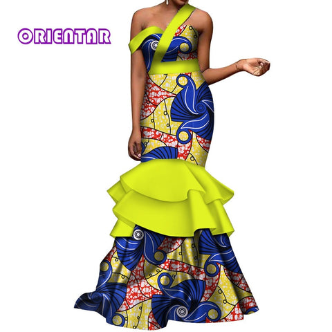 African dresses for Women Batik Wax Print Off Shoulder Long Party Dress Lady Elegant Mermaid Evening Dress Maxi Dress WY212