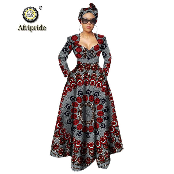 African dresses for women ankara print dress + headwarp v neck long maxi party dress dashiki outfits wax AFRIPRIDE S1925106