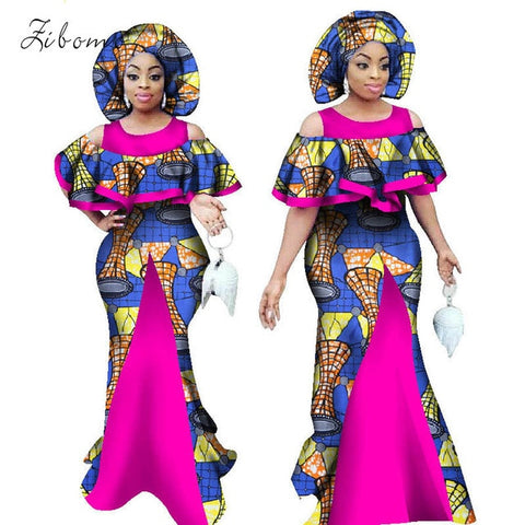 African dresses for women with scarf wax fabric print banque formal plus big size maxi african clothing dashiki ankara dress