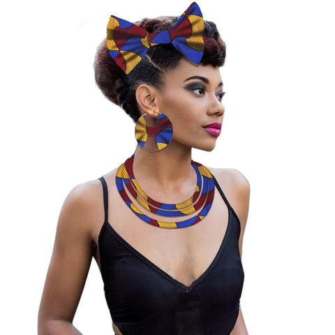 African fabric necklace jewelry for women Ankara print wax necklace earring layered fashion style