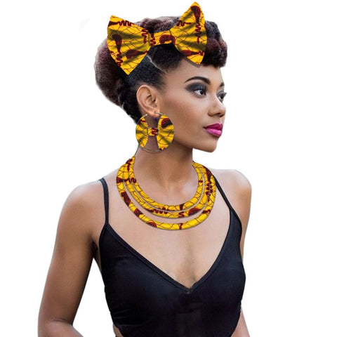 Image of African fabric necklace jewelry for women Ankara print wax necklace earring layered fashion style