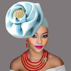 African head wraps hat for woman african headtie auto gele already tied turban