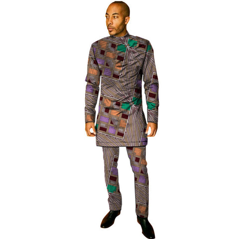 African print shirt+pant men's set clothing kente shirt matching trouser 2 pieces ankara outfits man wedding wear customized