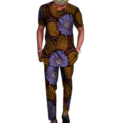 African print shirt+pant men's set clothing kente shirt top matching trouser 2 pieces ankara outfits man wedding wear customized