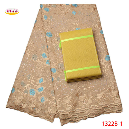 African sego headtie head High Quality nigerian lace fabric swiss voile lace in switzerland 100% cotton lace materials NA1322B-1