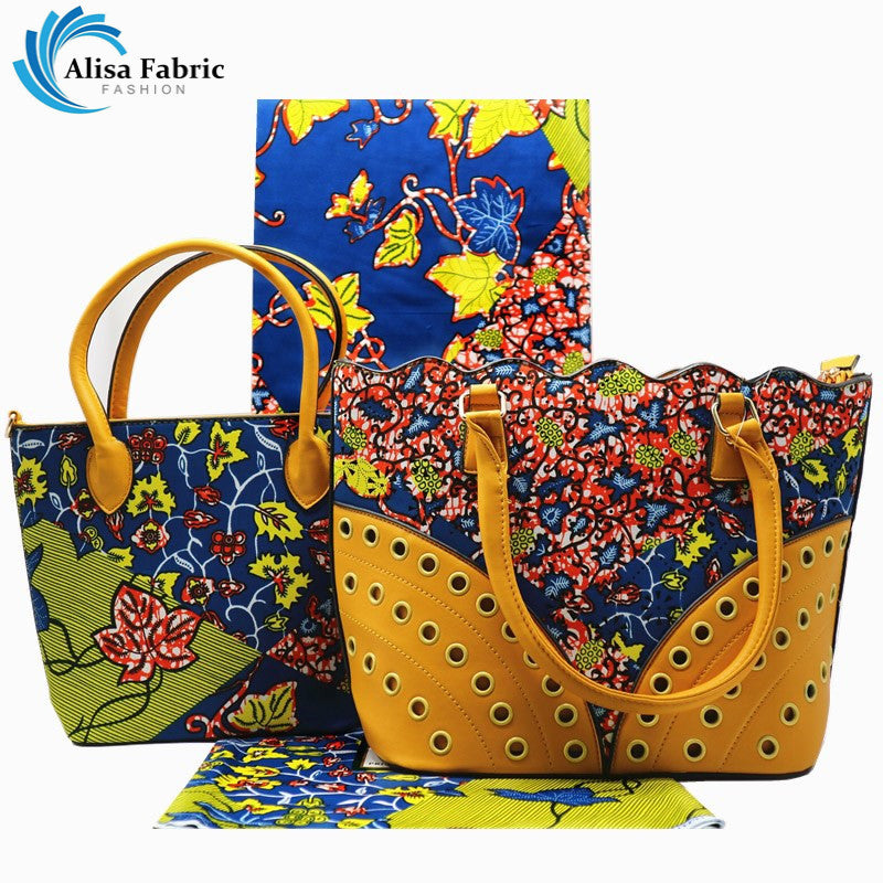 c68c36cfd89a Alisa women bag set 2018 African new design hand bag sets with 6 yards  African cotton
