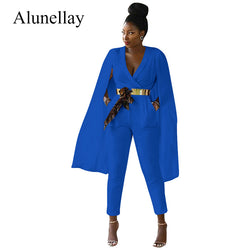 2018 Solid White Blue Rompers Womens Jumpsuit Deep V-Neck Cape Elegant Jumpsuit Summer Office Work Jumpsuits Vestidos