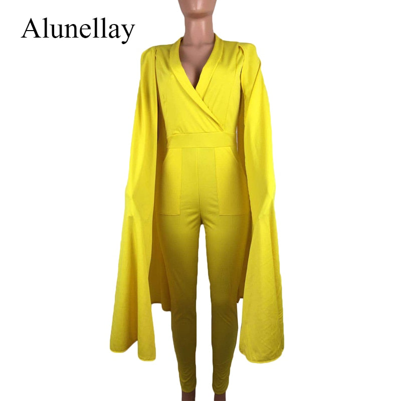 6aab7e718503 ... 2018 Solid White Blue Rompers Womens Jumpsuit Deep V-Neck Cape Elegant  Jumpsuit Summer Office ...