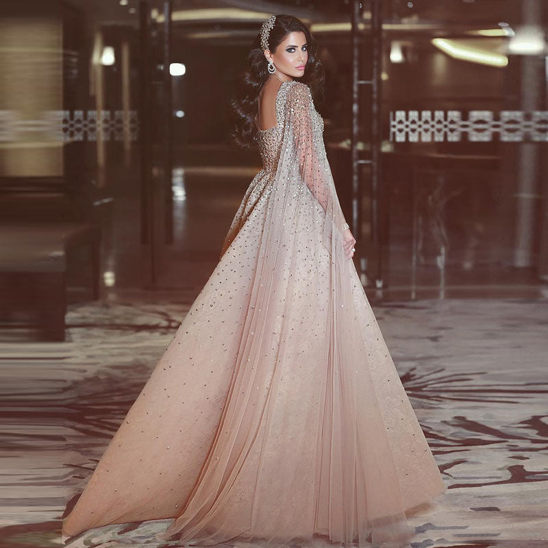 f62e01d163094 Amazing Arabic Long Evening Gowns 2018 Champagne Eye-catching Beaded ...