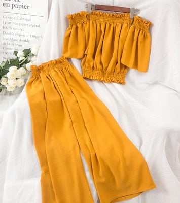 Amolapha Women Soild Slash Neck Puff Sleeve Top + Wide Leg Pants 2PCS Clothing Sets Casual Sets