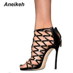 Aneikeh 2018 Aummer Women Ankle Boots Black Cut-outs Ladies Shoes Gold Rivet  High Heels ... c887aaa380ff