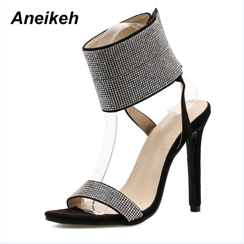 ... Aneikeh 2018 New Rhinestone Design High Heel Shoes Sandals Crystal  Ankle Wrap Open Toe Diamond Gladiator aef9b303c04b
