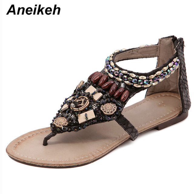 b952d52579c7 Aneikeh 2018 Summer Shoes Women Sandals Bohemian Beading Crystal Sandalias  Female Bead Pendant Flip Flops Beach. Hover to zoom