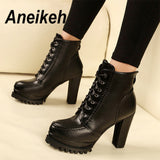 Aneikeh 2019 Cool Fashion PU Women's Boots Lace-Up Solid Square High Heels Ankle Round Toe Dance Party Shallow Black Size 34-40