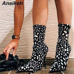 Aneikeh 2019 Fashion Flock Women Mid-Calf Boots Zip White Dots Thin High Heels Shoes Woman Pointed Toe Sexy Wedding Black 35-40