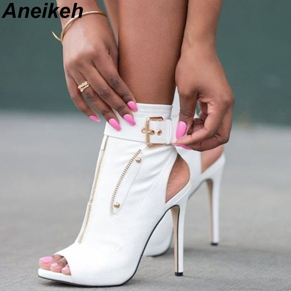 Aneikeh 2019 PU Summer Ankle Boots High Heels Women Shoes Peep Toe Sexy Lady Chelsea Boots Party Thin Heeled Shoes Size 35-40