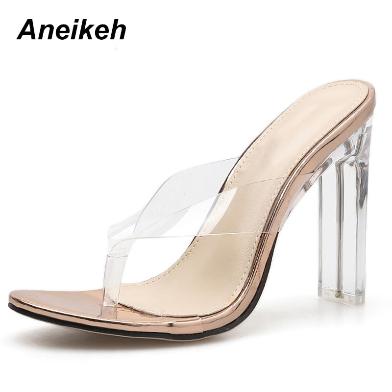 5bb5f18464 Aneikeh 2019 Summer Shoes Women PVC Crystal Flip Flops Gladiator Pumps Sexy  Clear High Heels Classic Dress zapatos mujer Slipper