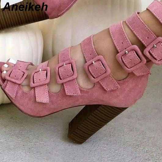 Aneikeh 2020 New Autumn Fashion Shoes Woman Sexy Fish Head Hollow Belt Buckle Thick Heels Peep Toe Sandals Gladiator Boots