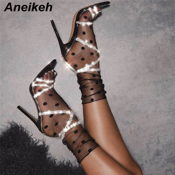 Aneikeh 2020 Summer PVC Rhinestone Gladiator Sexy Sandals Shoes Woman High Heel Peep Toe Stripper Buckle Party Thin Heels Pumps