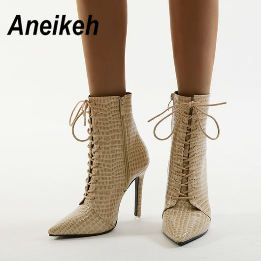 Aneikeh 2020 Winter Fashion SNAKE PRINT LACE UP ANKLE BOOTS Pointed End  Boots Shoes Woman Thin Heels High Heels Chelsea Riding