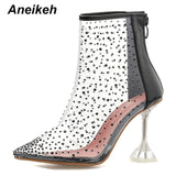 Aneikeh Autumn PVC Transparent Ankle Boots Women Sexy Pointed Toe Zipper Crystal High Heels Transparent Clear Ladies Shoes Pumps