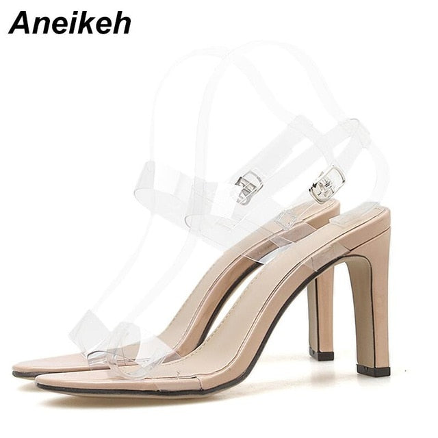Pumps Buckle Peep Sandals Strap Transparent Pvc Shoes High Aneikeh Women's Summer Sandalias Heels Toe Fashion Womens Mujer hQrCtsdx
